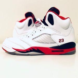 Nike air jordan 5 retro GS fire red white 6 youth